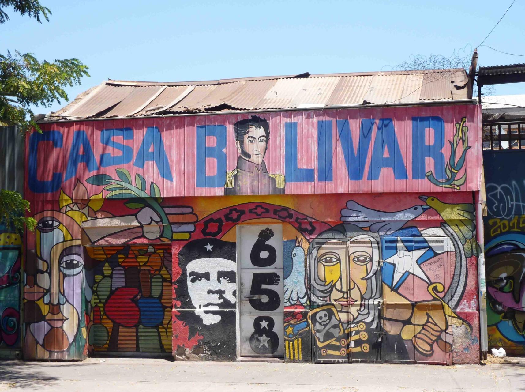 Une modeste habitation dont le propriétaire voue un culte à un autre libertador Simon Bolivar