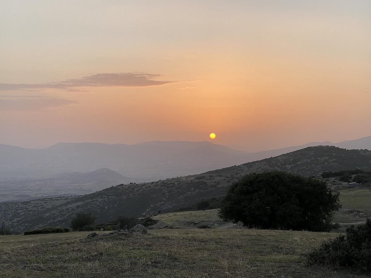 Schön: Sonnenuntergang am Olymp
