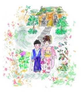 尼崎市 皇大神社 七五三 画 基浩
