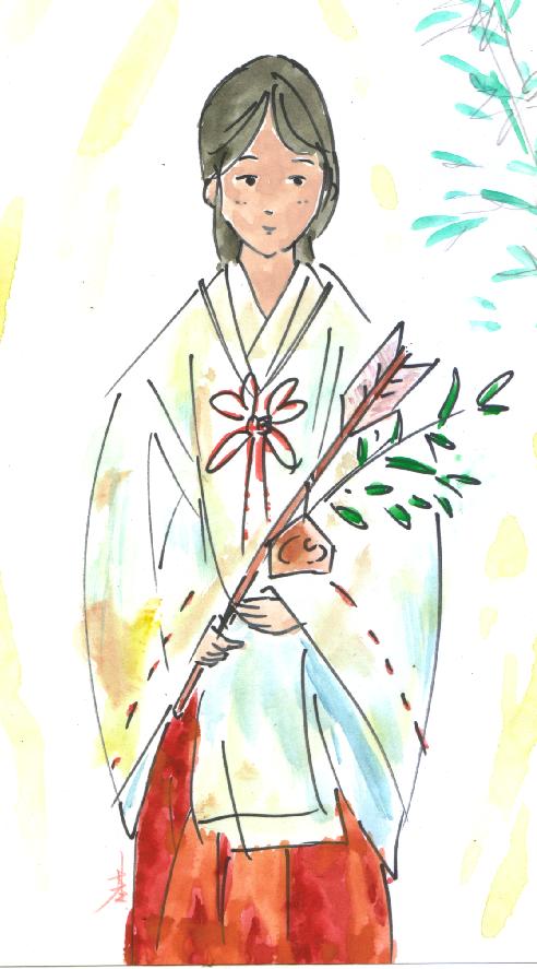 尼崎市 皇大神社 バイト巫女募集 画:基浩
