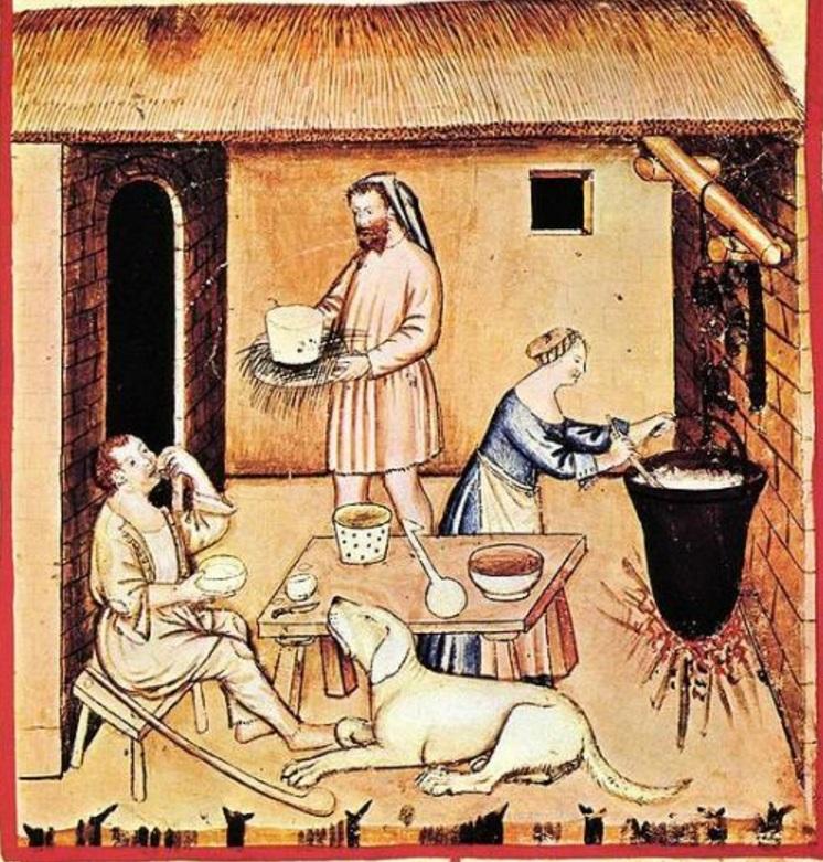 Fabrication de fromage au Moyen Âge, illustration du XIVe siècle