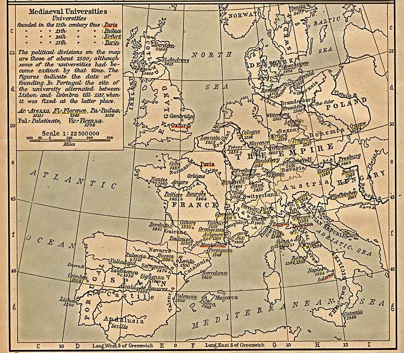 Carte des universités médiévales en Europe publiée en 1923.