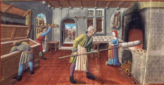 En ville, le boulanger fournit le pain. BnF, NAL 1673, f°56, fin XIVe siècle. Photo BnF