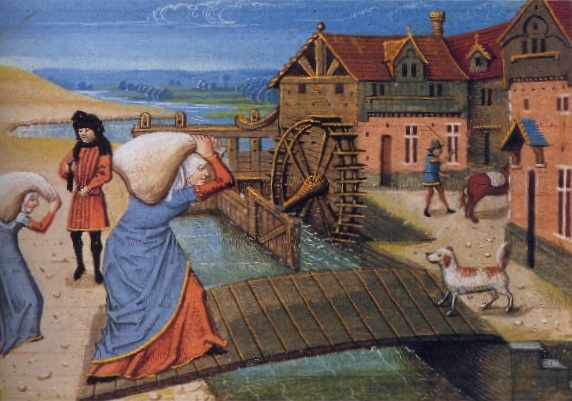 A la campagne, on emmène son grain au moulin à aube. Miniature du Rustican de Pietro De crescenzi, seconde moitié du XVe siècle.