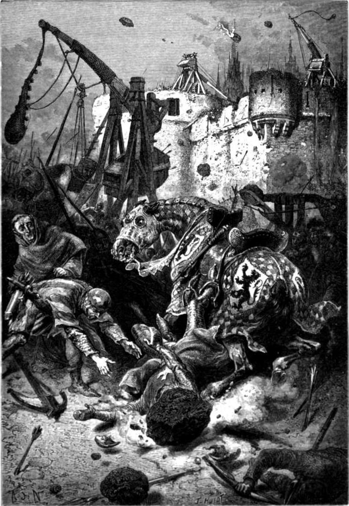 Reconstitution du siège de Toulouse en 1218, mort de Simon de Montfort, gravure d'Alphonse Marie de Neuville, 1883