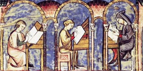 Scriptorium (atelier de copistes) du monastère de l'Escurial au XIIIe siècle