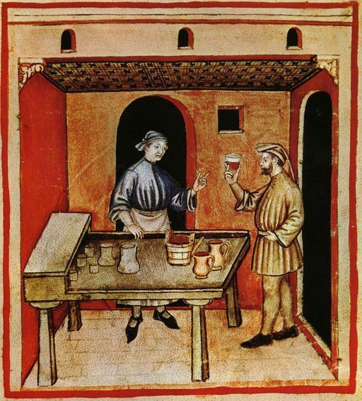 Le marchand de vin rouge au Moyen Age - Le Tacuinum sanitatis, manuel médiéval sur la santé