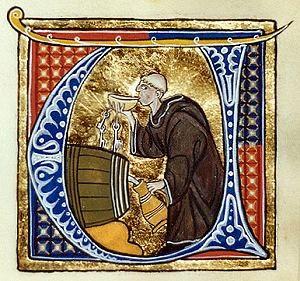 Un moine buvant du vin - Li livres dou santé by Aldobrandino of Siena.