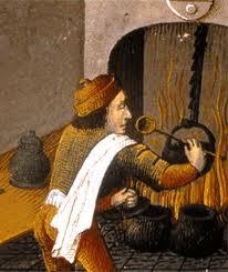 Maître queux en train de réaliser une recette_BNF, Ms fr 9140, f°361v, XVe siècle. Photo BNF