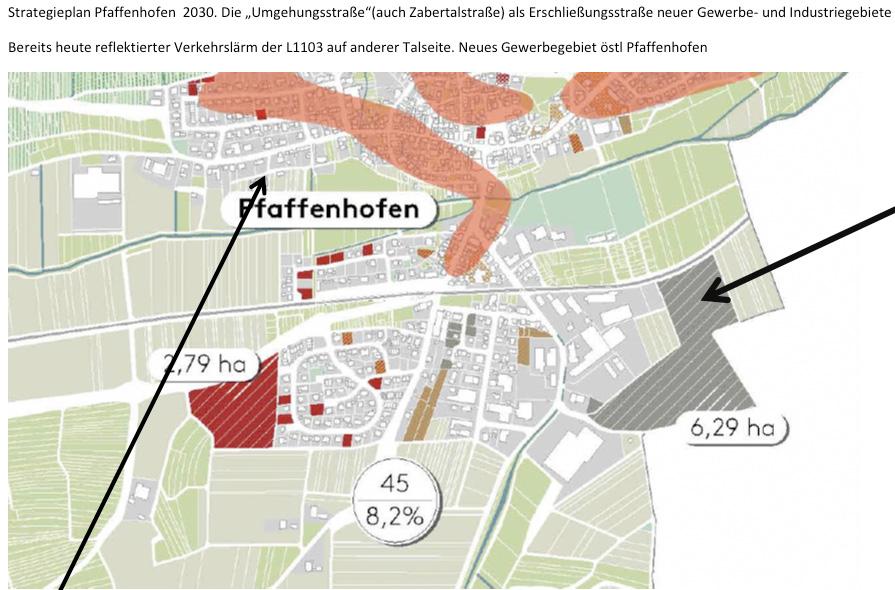 Aus dem Strategieplan Pfaffenhofen 2030. Bereits heute wird der Verkehrslärm der L1103 von der anderen Talseite reflektiert.