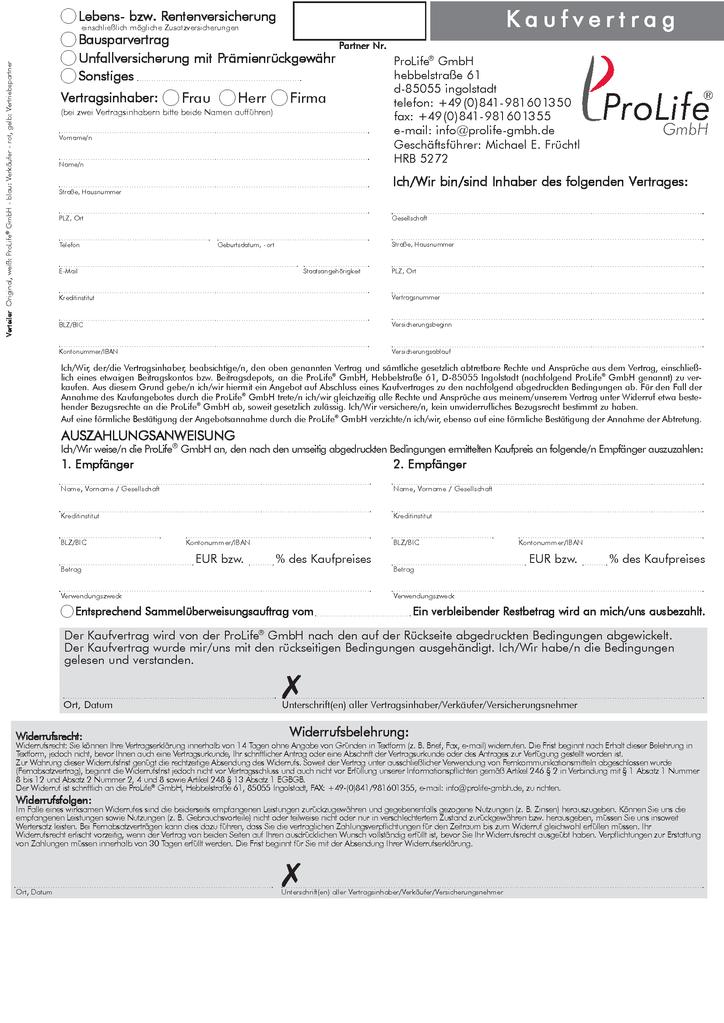 Kaufvertrag Abtretungserklärung - DGFRP-Webshop