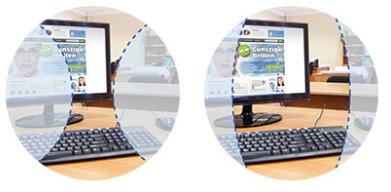 Vergleich Sehbereiche Gleitsichtbrille/Bildschirmarbeitsplatzbrille (symbolisch)