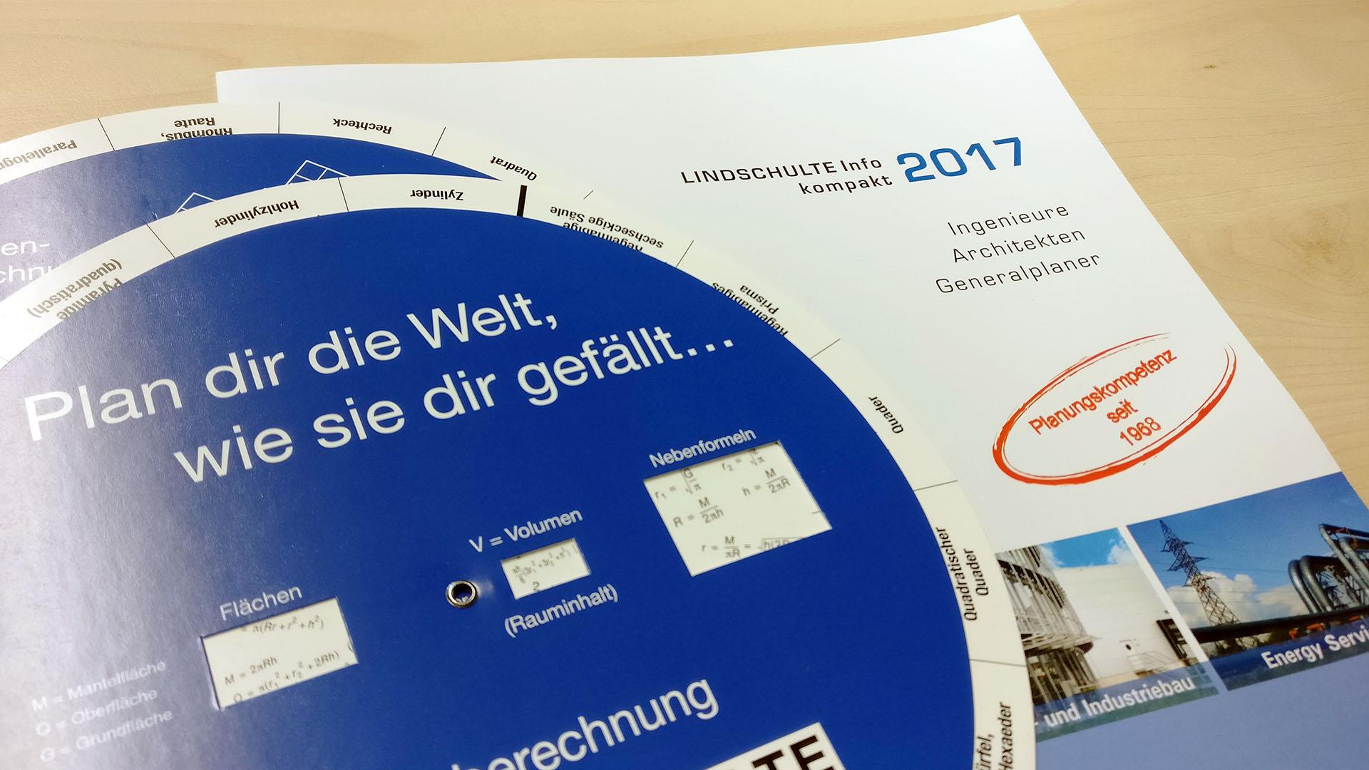 Formel-Drehscheibe und kompakt-Flyer LINDSCHULTE Ingenieure + Architekten
