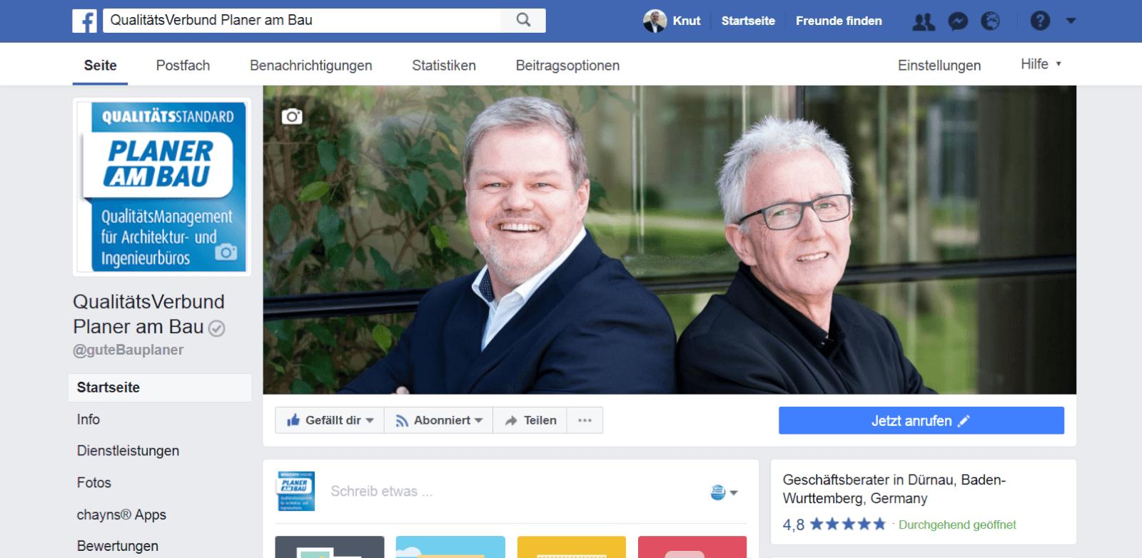 Facebook-Seite QualitätsVerbund Planer am Bau