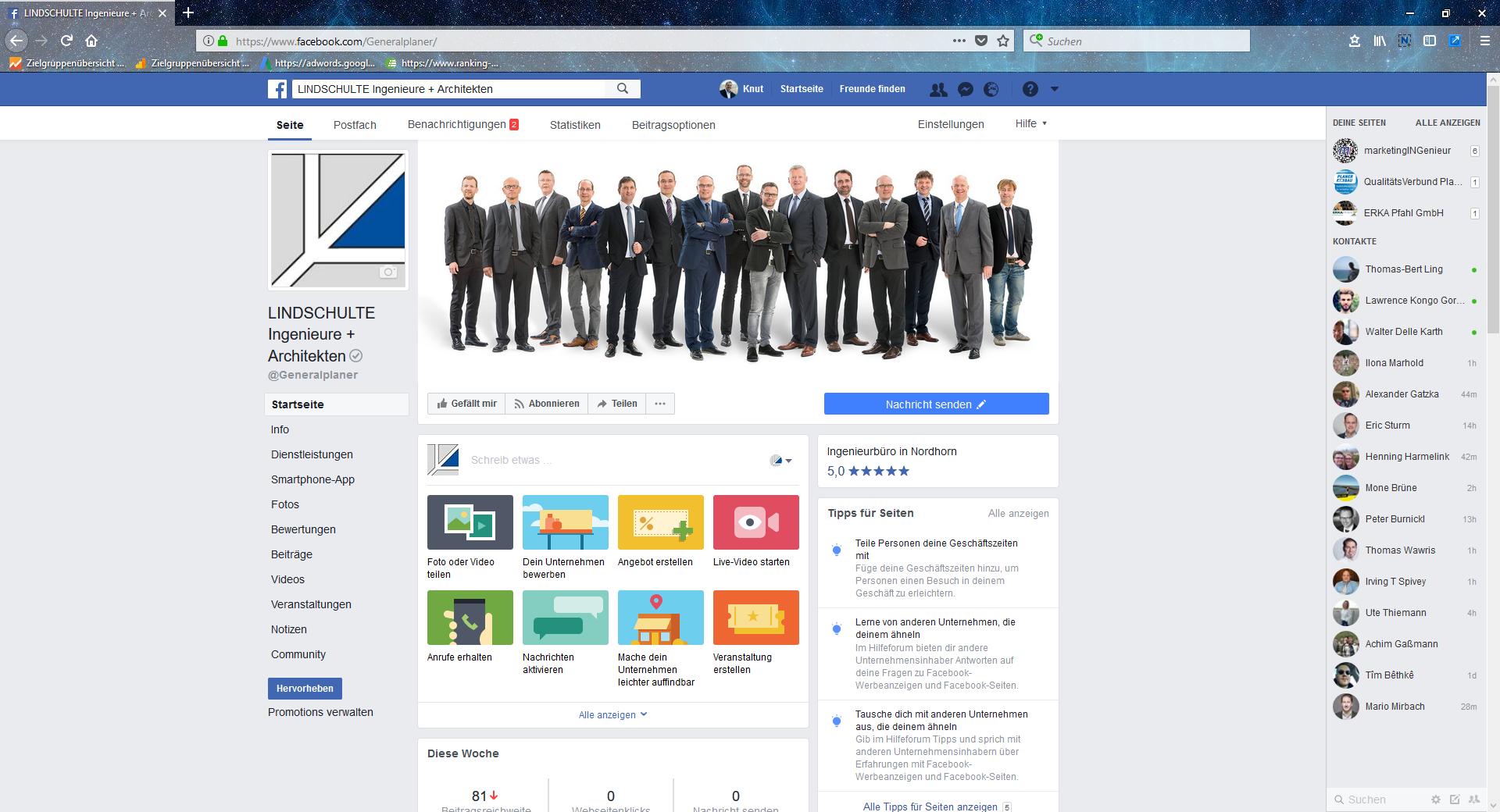 Facebook-Seite LINDSCHULTE Ingenieure + Architekten
