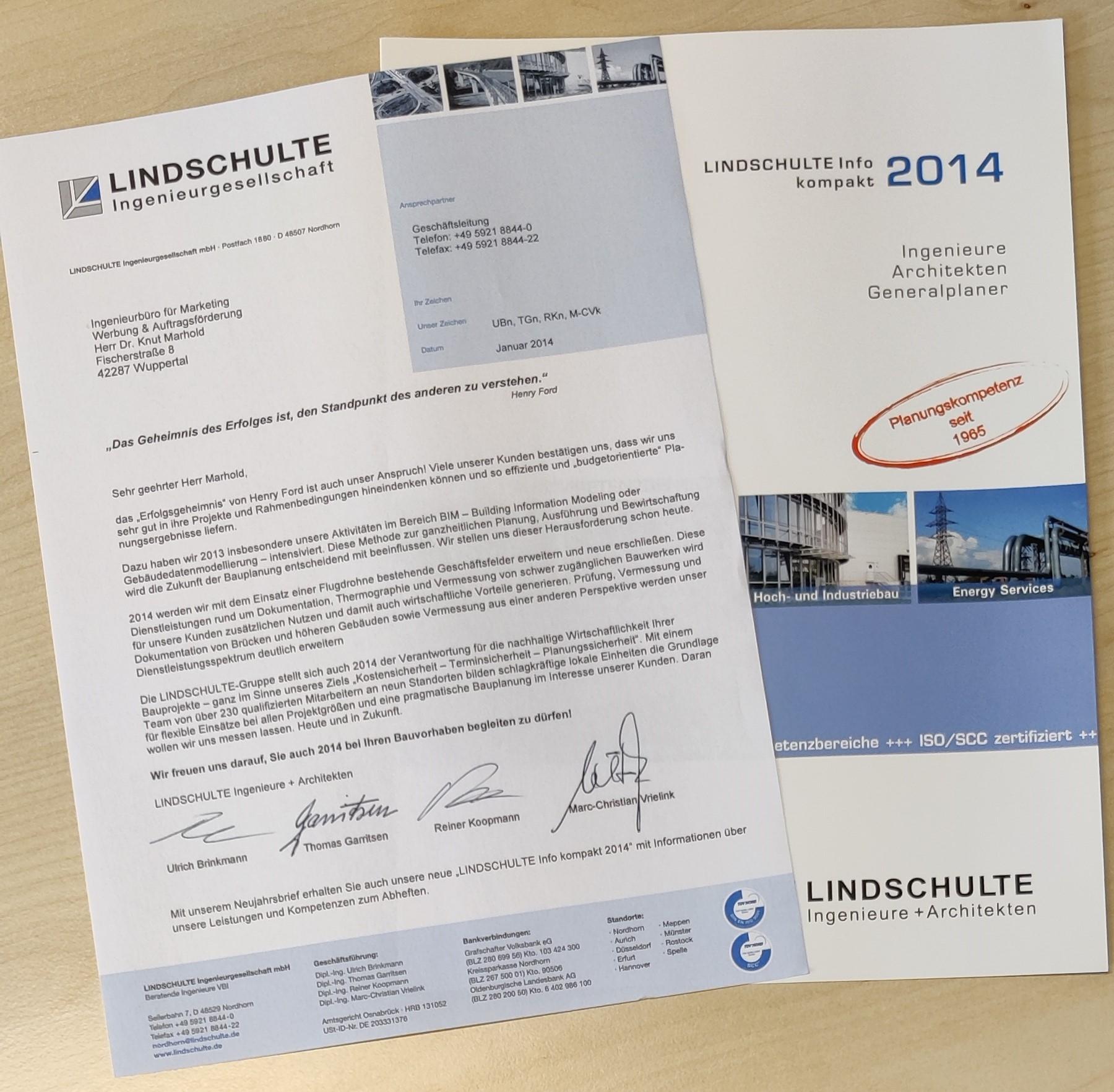 Neujahrsbrief LINDSCHULTE Ingenieure Architekten Generalplaner - mit kompakt-Flyer (Idee/Text/Layout: marketingINGenieur)