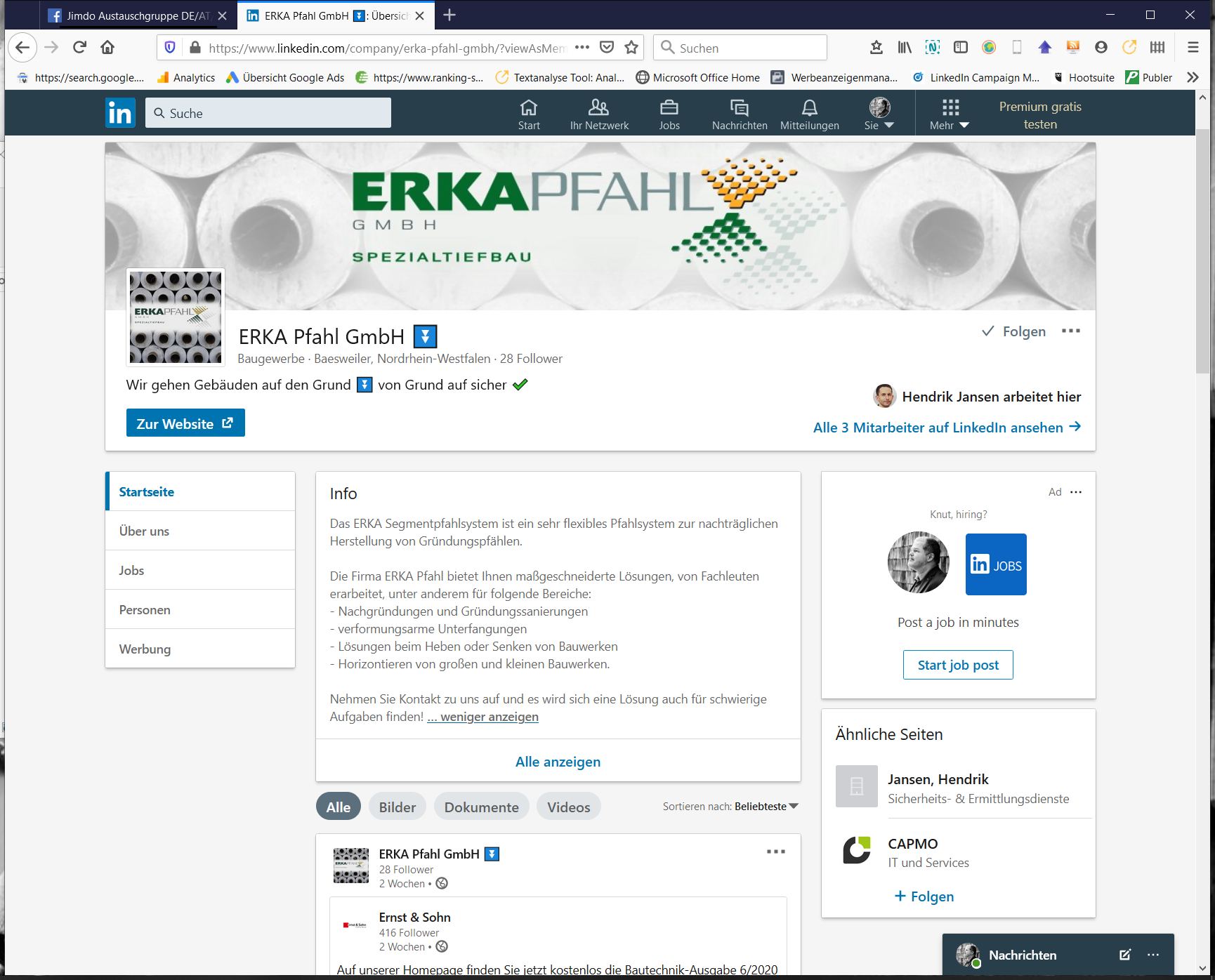 LinkedIn-Seite ERKA Pfahl Spezialtiefbau
