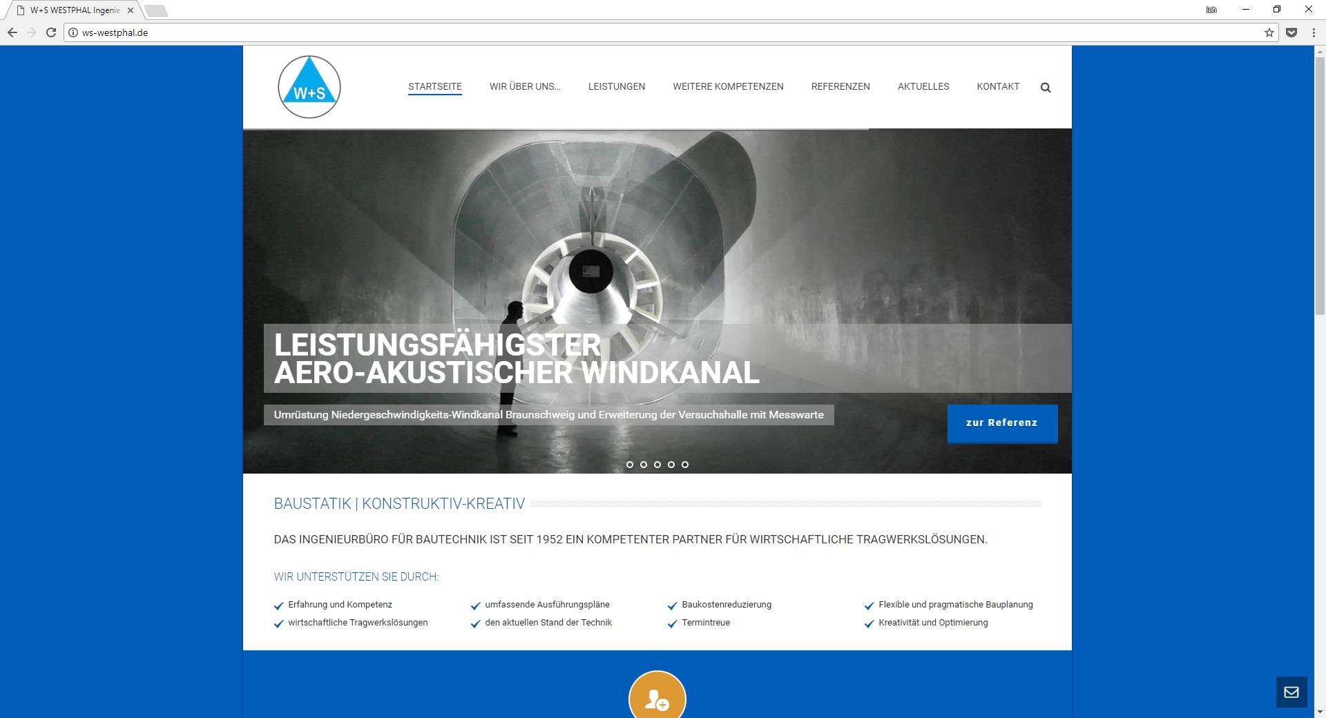 Internetseite W+S WESTPHAL Ingenieurbüro für Bautechnik