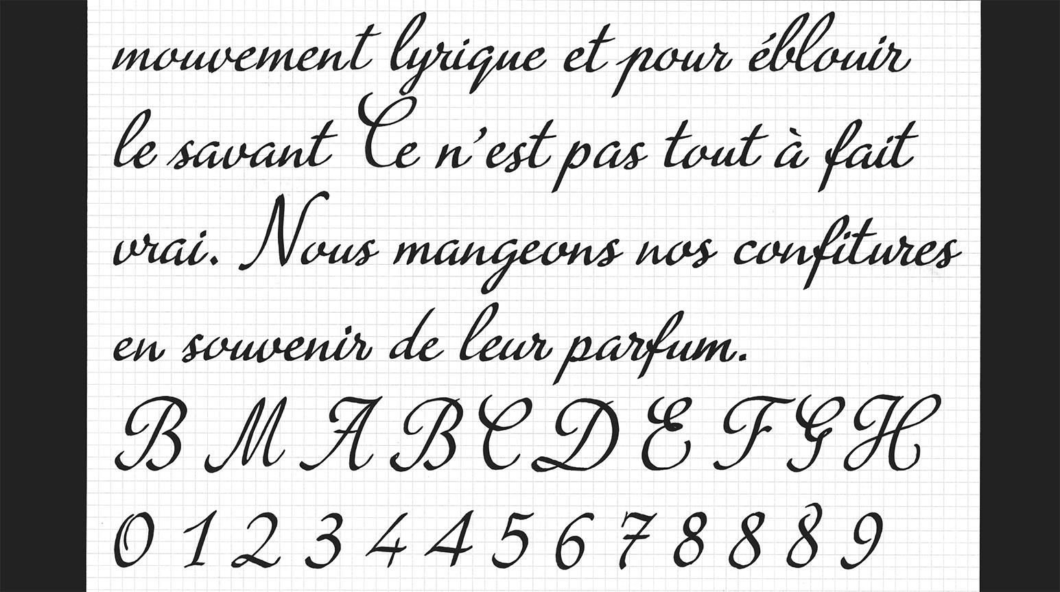 Création de la scripte Bonne Maman. Pages de calligraphie avec pour modèle le logo Bonne Maman