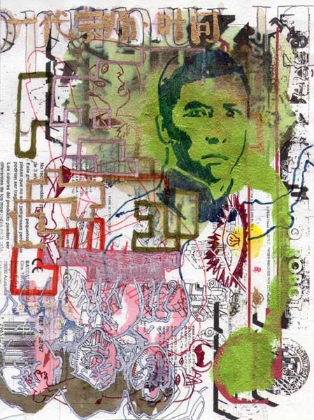 One man defied an empire (Donnie Yen) 24x18cm mixed media on hand made paper 2011