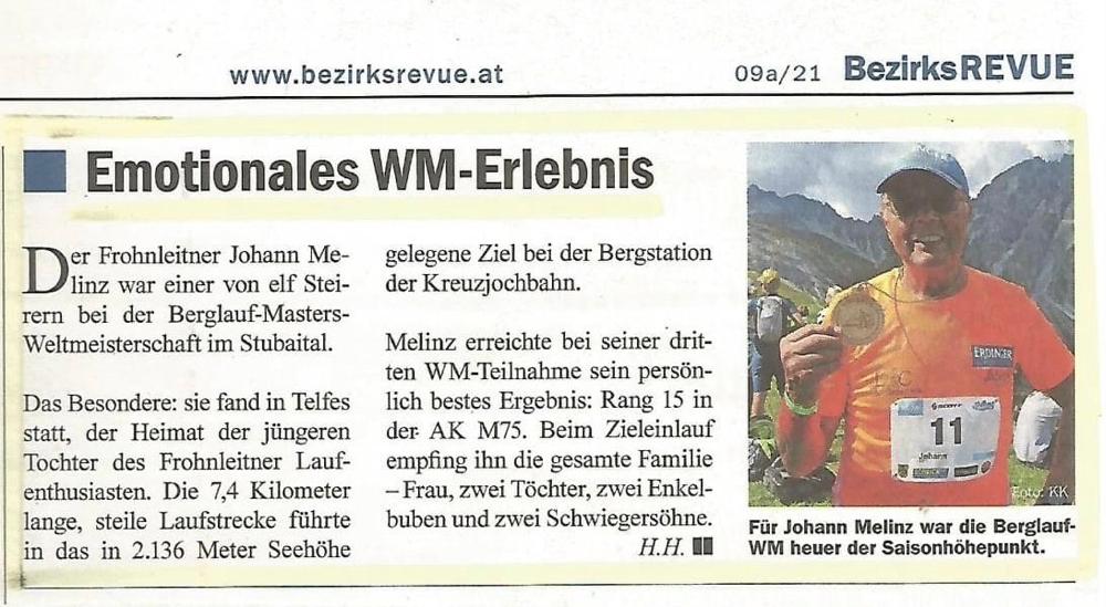 BEZIRKSREVUE GU-Nord - Ausgabe 09a/2021 - Sportbeitrag: Johann MELINZ
