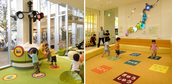 ららぽーと新三郷「エコハロー!」がコンセプトのキッズゾーンでは遊具と知育をキーワードに 発電床を体験し遊べる空間を制作しました。