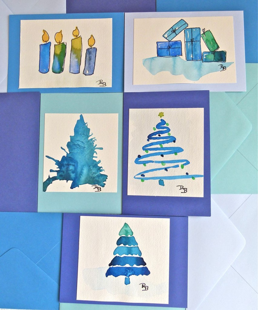 Karten aquarelle originale schmuck aus leder seide und - Aquarell weihnachten ...