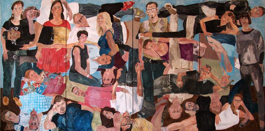 """Eva Hradil, """"21 Menschen"""" 2014/2015, Eitempera auf Halbkreidegrund auf Leinwand, 200 x 400 cm"""