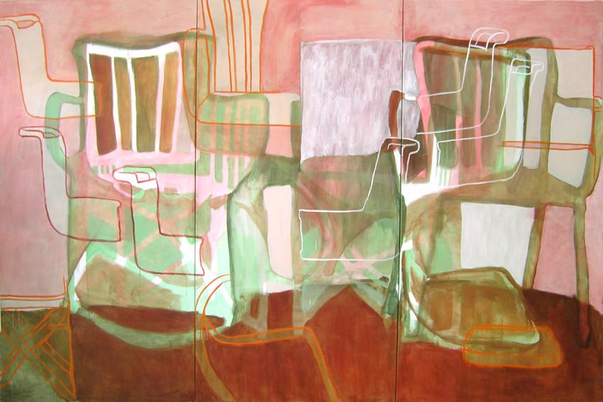 """Eva Hradil """"Hintergrund II"""" 2007 Pigmente und Acrylbinder auf Leinwand, 200 x 300 cm (Triptychon)"""