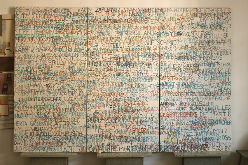 Eva Hradil, FARBaufWEISS, Zustandsbild mit 350 Namen