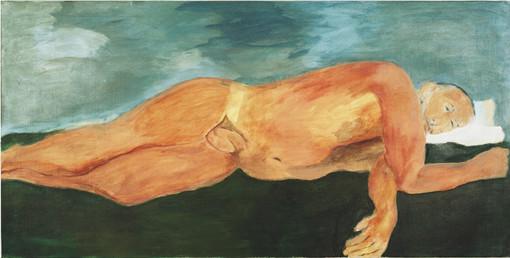 """Eva Hradil, """"1.9.2005"""" aus """"Männerlandschaften"""", 100 x 200 cm, Pigmente und Acrylbinder auf LW"""