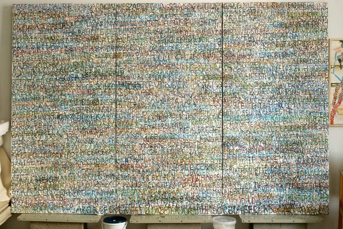 Eva Hradil, FARBaufWEISS, Zustandsbild mit 850 Namen