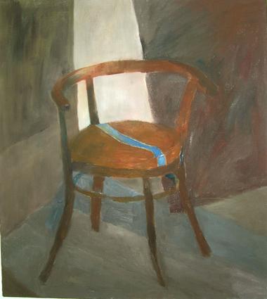 "Eva Hradil ""Werkstatt Sessel"" 1999 Öl auf LW 90 x 70 cm"