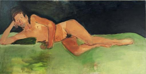 """Eva Hradil, """"8.8.2005"""" aus """"Männerlandschaften"""", 100 x 200 cm, Pigmente und Acrylbinder auf LW"""