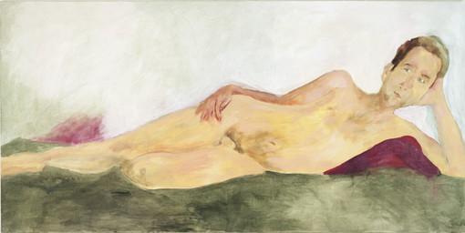 """Eva Hradil, """"23.8.2005"""" aus """"Männerlandschaften"""", 100 x 200 cm, Pigmente und Acrylbinder auf LW"""