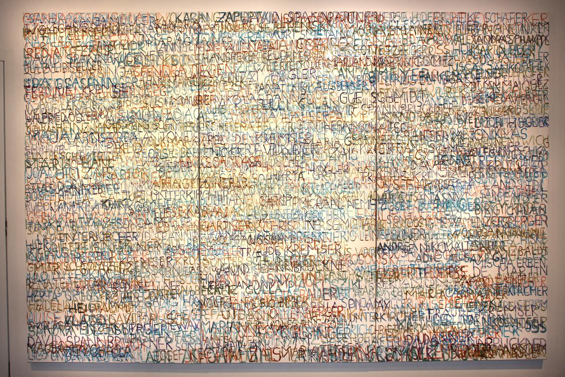 Eva Hradil, FARBaufWEISS, Zustandsbild mit 500 Namen