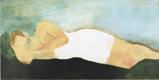 """Eva Hradil, """"17.8.2005"""" aus """"Männerlandschaften"""", 100 x 200 cm, Pigmente und Acrylbinder auf LW"""