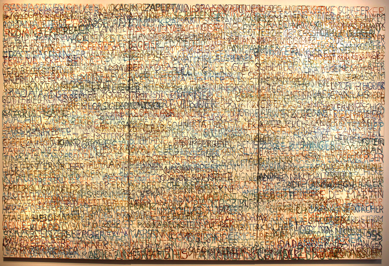 Eva Hradil, FARBaufWEISS, Zustandsbild mit 600 Namen