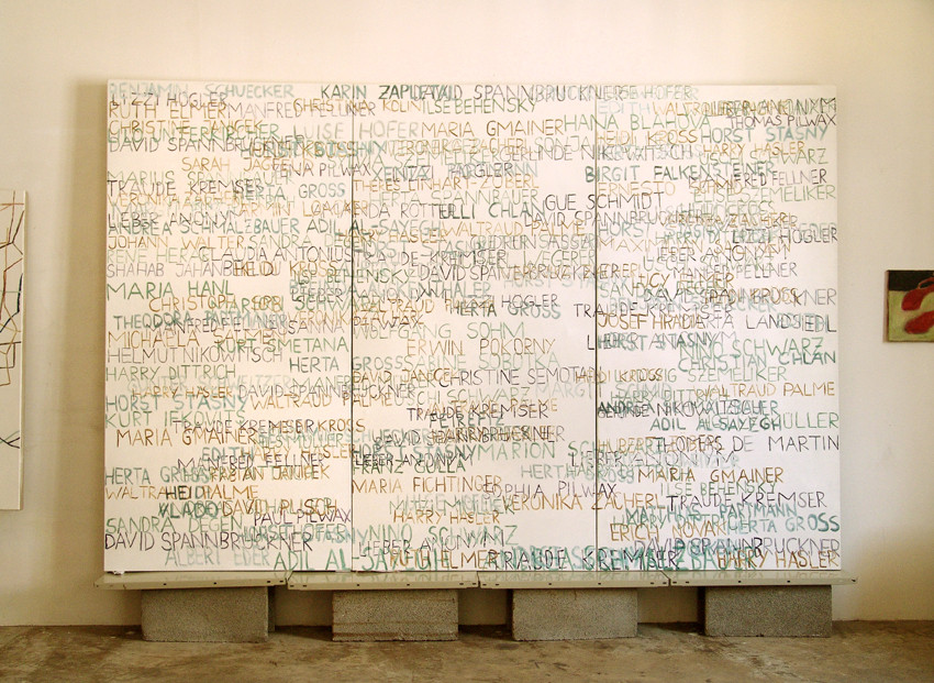 Eva Hradil, FARBaufWEISS, Zustandsbild, mit 200 Namen