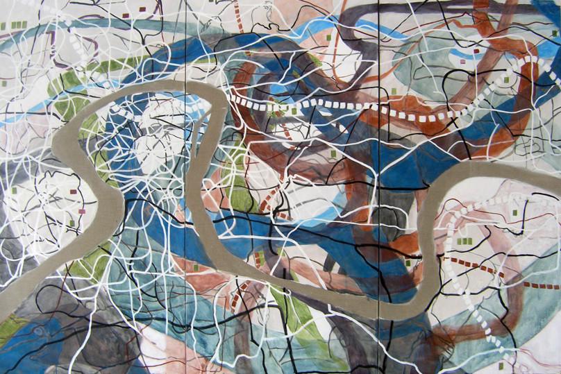 Moldau-Schleife, Eva Hradil, 2010, Eitempera auf Halbkreidegrund auf LW. 200 x 300 cm, Triptychon