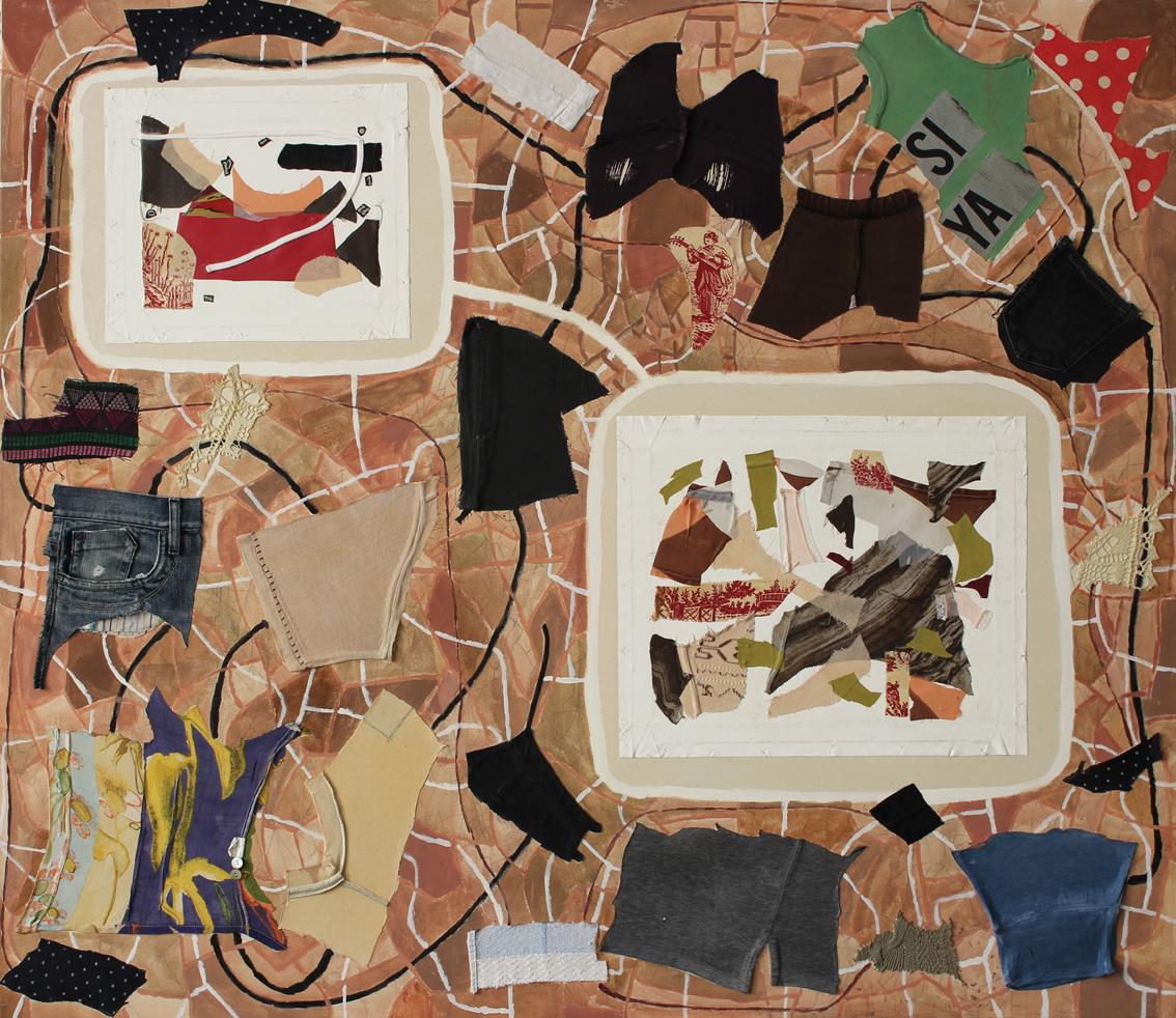 """Eva Hradil """"Gefüge / Trabazon"""" 2017, Teile aus Kleidungsstücken, Eitempera, 2 Bilder, die in Buenos Aires entstanden sind, Bleistift, 130 x 140 cm"""