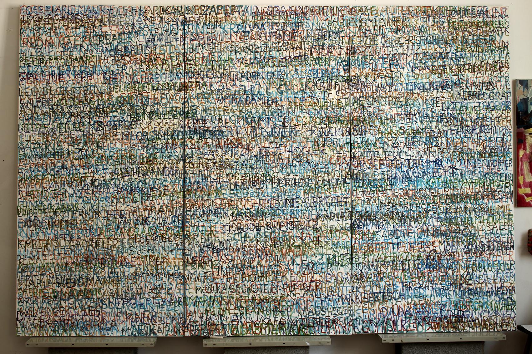 Eva Hradil, FARBaufWEISS, Zustandsbild mit 750 Namen