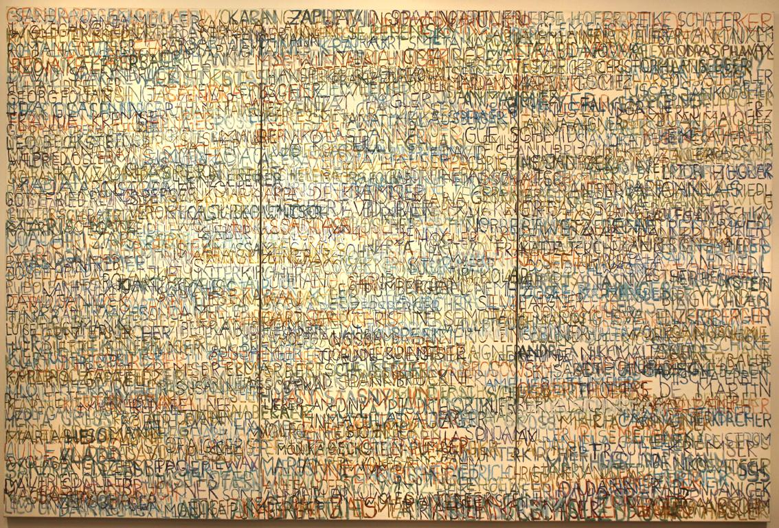 Eva Hradil, FARBaufWEISS, Zustandsbild mit 550 Namen