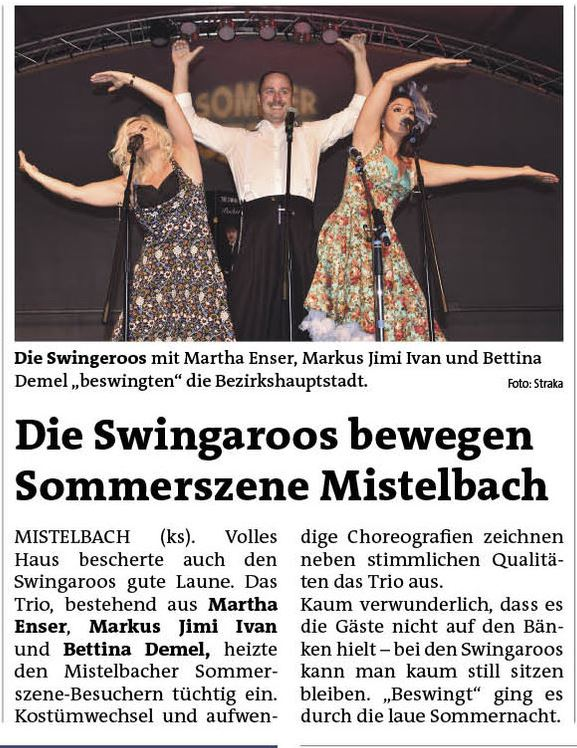Bezirksblattartikel Sommerszene Mistelbach 2017, The Swingaroos and the Pocket Big Band