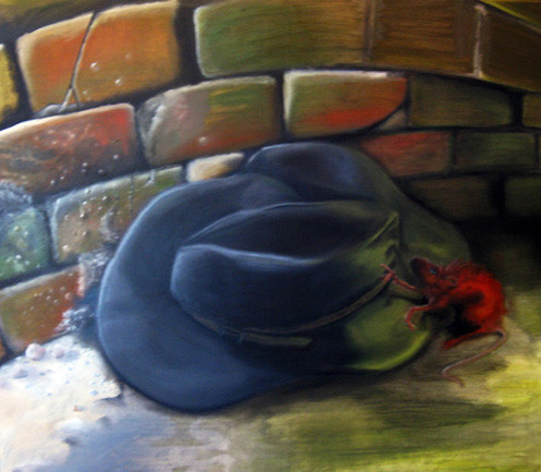 """the red rat with the black hat"" - painting by Daniel ""Dunst"" Straka"