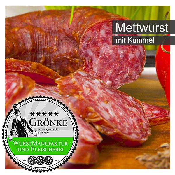 Mettwurst mit Kümmel oder Knoblauch von Fleischermeister Martin Grönke