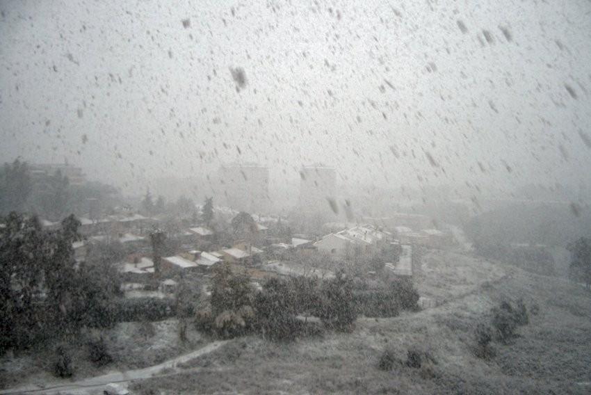nevicata a Pomezia ore 15.00