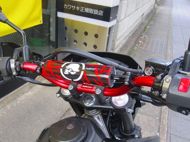 ハンドルも赤に、全体を赤と黒のツートンでまとめ上げております。