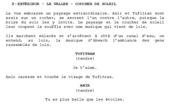 "Extrait du scénario de ""Tayri""."