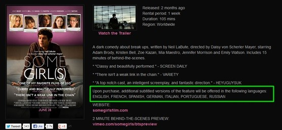 """Some girl(s)"" on Vimeo on Demand has a lot of subtitles choices."